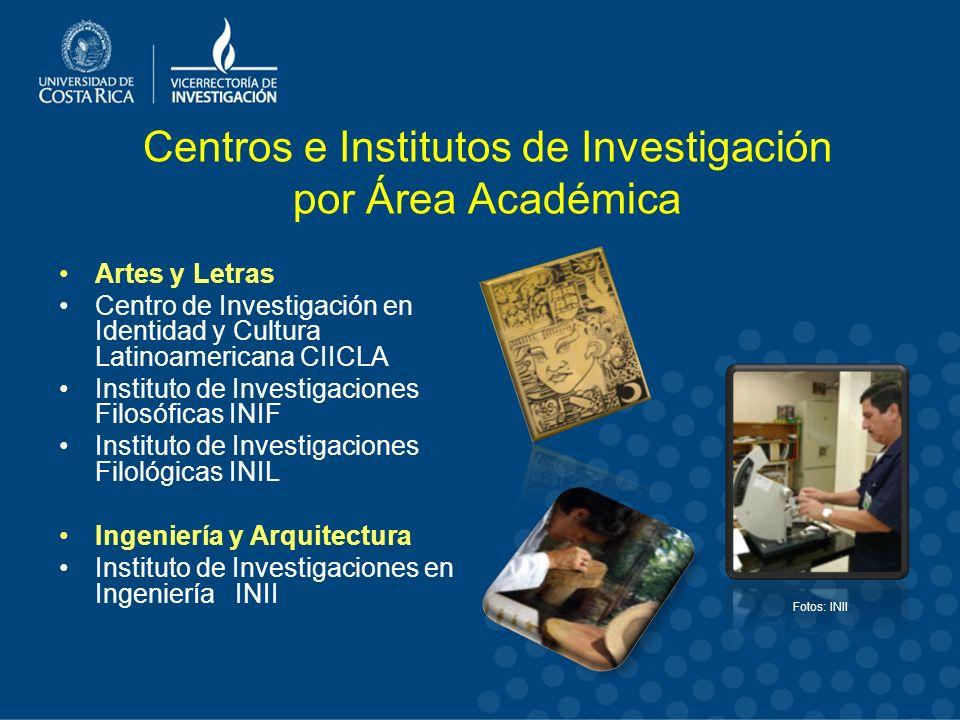 Centros e Institutos de Investigación por Área Académica