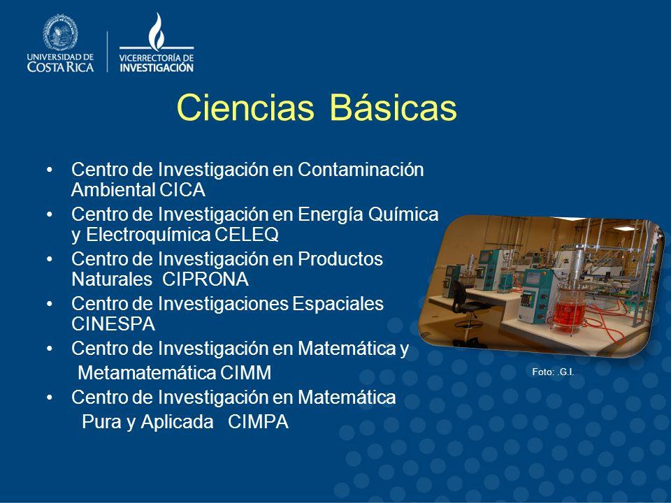 Ciencias Básicas Centro de Investigación en Contaminación Ambiental CICA. Centro de Investigación en Energía Química y Electroquímica CELEQ.