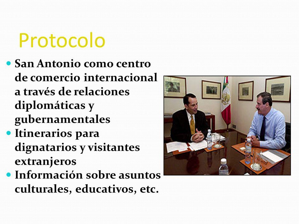 Protocolo San Antonio como centro de comercio internacional a través de relaciones diplomáticas y gubernamentales.