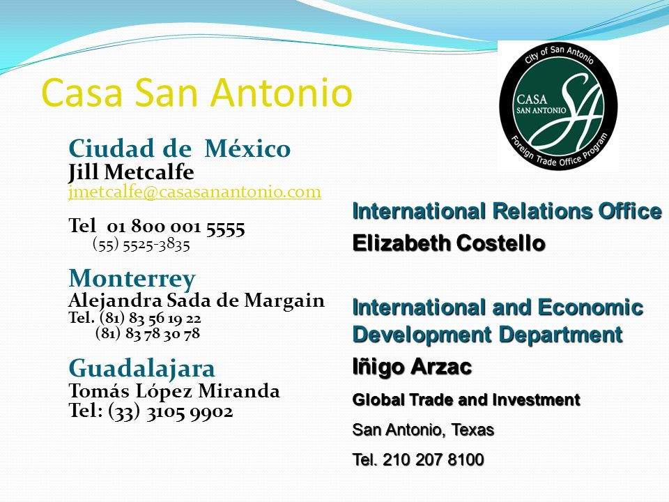 Casa San Antonio Ciudad de México Monterrey Guadalajara Jill Metcalfe