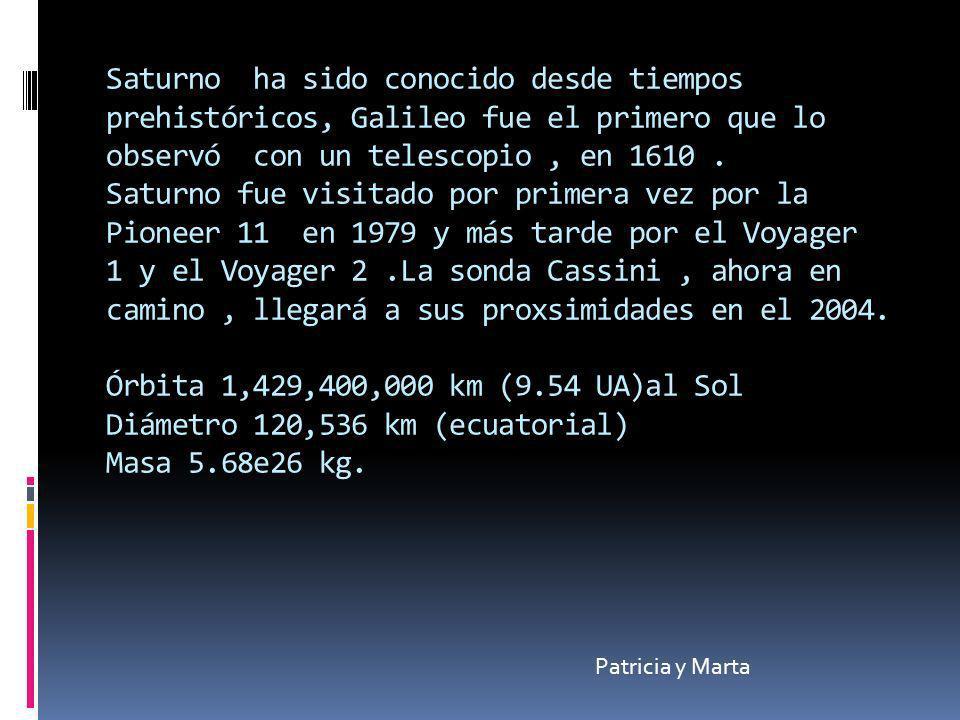 Saturno ha sido conocido desde tiempos prehistóricos, Galileo fue el primero que lo observó con un telescopio , en 1610 . Saturno fue visitado por primera vez por la Pioneer 11 en 1979 y más tarde por el Voyager 1 y el Voyager 2 .La sonda Cassini , ahora en camino , llegará a sus proxsimidades en el 2004. Órbita 1,429,400,000 km (9.54 UA)al Sol Diámetro 120,536 km (ecuatorial) Masa 5.68e26 kg.