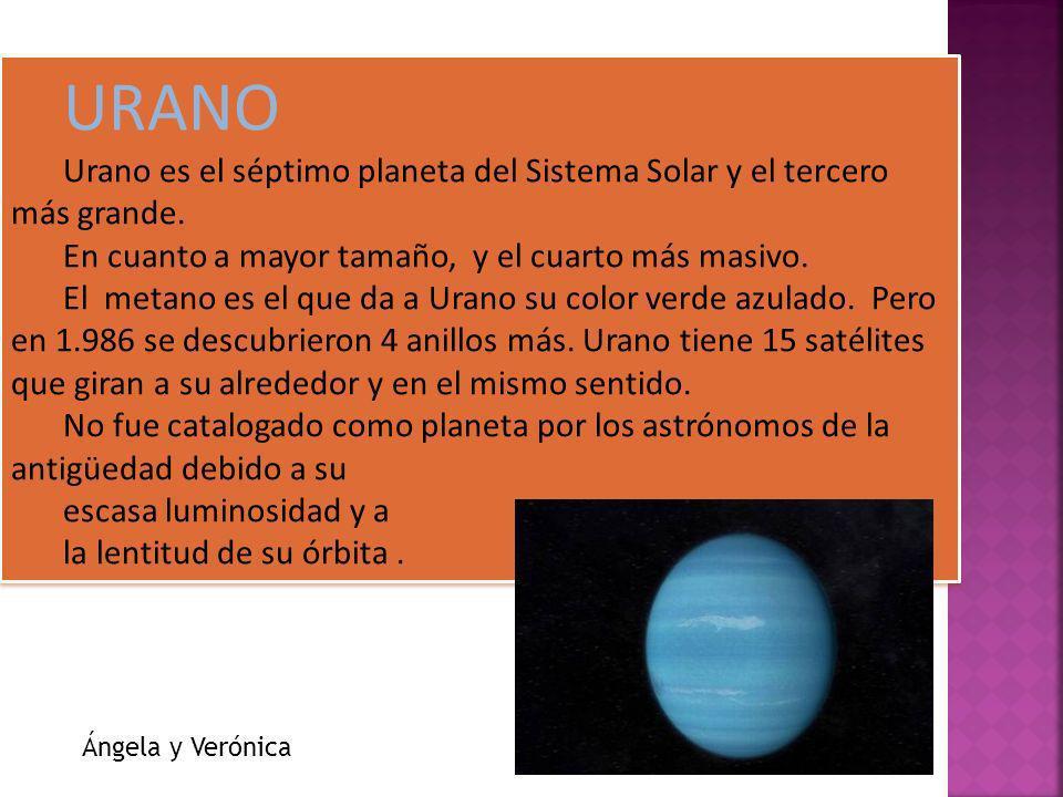 URANO Urano es el séptimo planeta del Sistema Solar y el tercero más grande. En cuanto a mayor tamaño, y el cuarto más masivo.