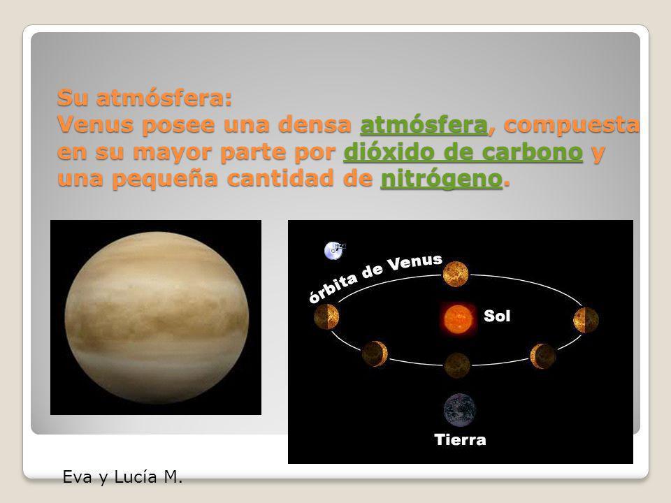 Su atmósfera: Venus posee una densa atmósfera, compuesta en su mayor parte por dióxido de carbono y una pequeña cantidad de nitrógeno.