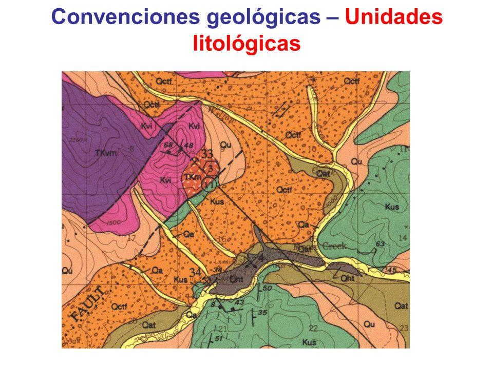 Convenciones geológicas – Unidades litológicas