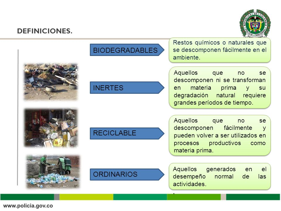 DEFINICIONES. BIODEGRADABLES INERTES RECICLABLE ORDINARIOS .