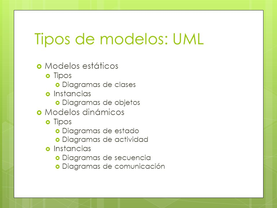 Tipos de modelos: UML Modelos estáticos Modelos dinámicos Tipos