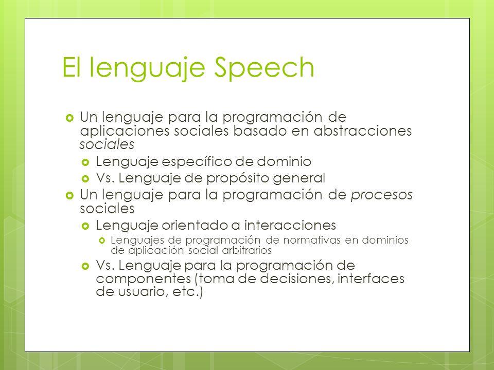 El lenguaje Speech Un lenguaje para la programación de aplicaciones sociales basado en abstracciones sociales.