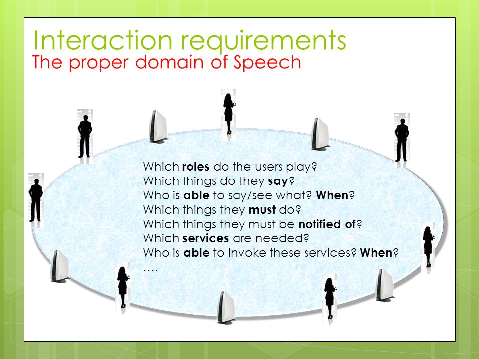 Interaction requirements