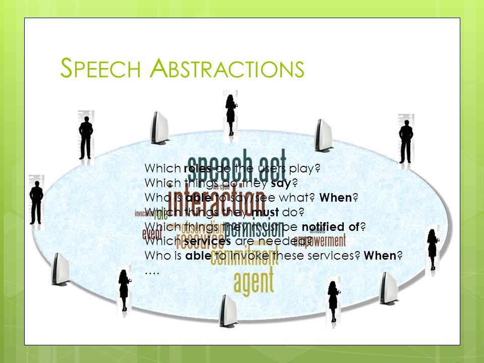 Speech Abstractions Which roles do the users play