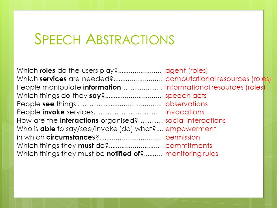 Speech Abstractions Which roles do the users play ....................... Which services are needed ..........................