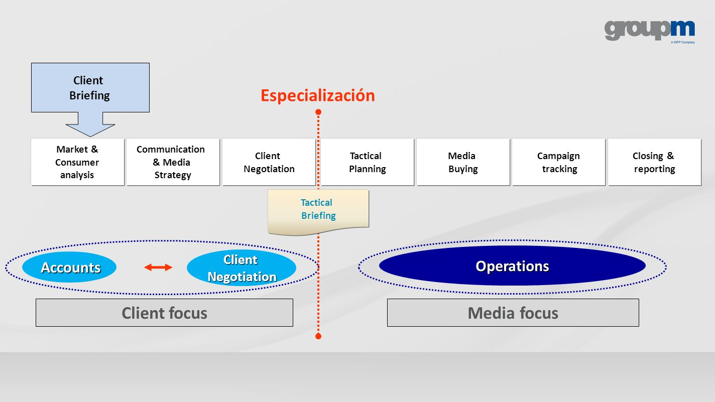 Especialización Client focus Media focus Operations Accounts Client