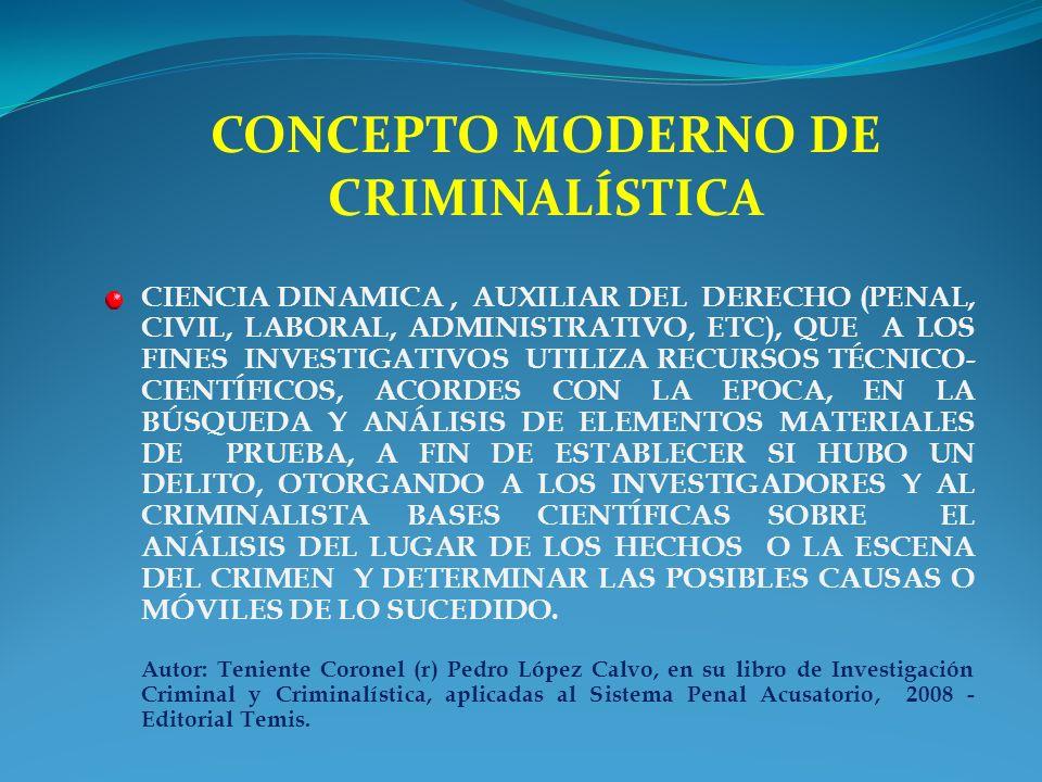 CONCEPTO MODERNO DE CRIMINALÍSTICA