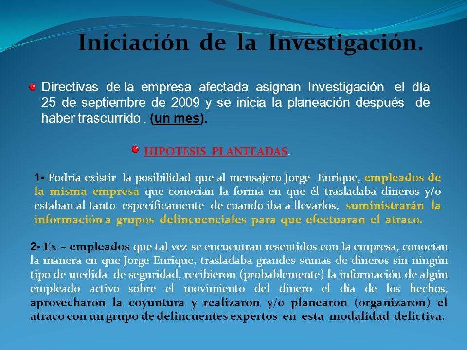 Iniciación de la Investigación.