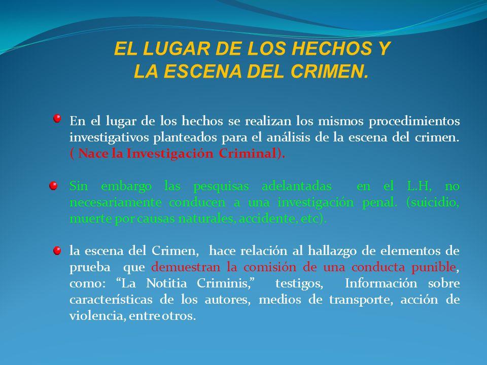 EL LUGAR DE LOS HECHOS Y LA ESCENA DEL CRIMEN.