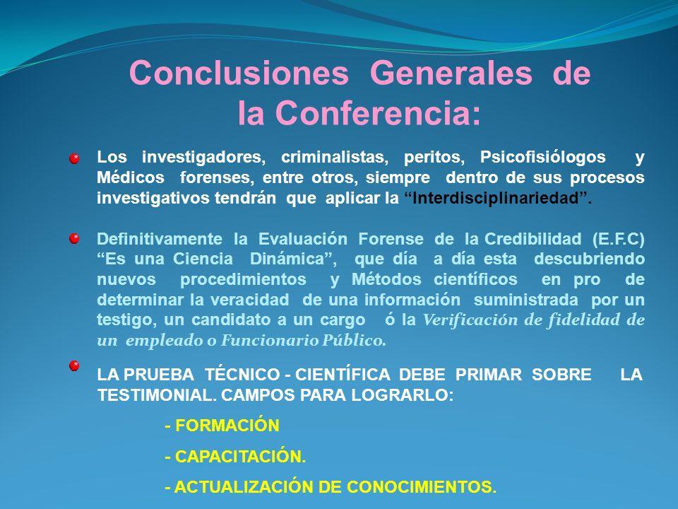 Conclusiones Generales de la Conferencia: