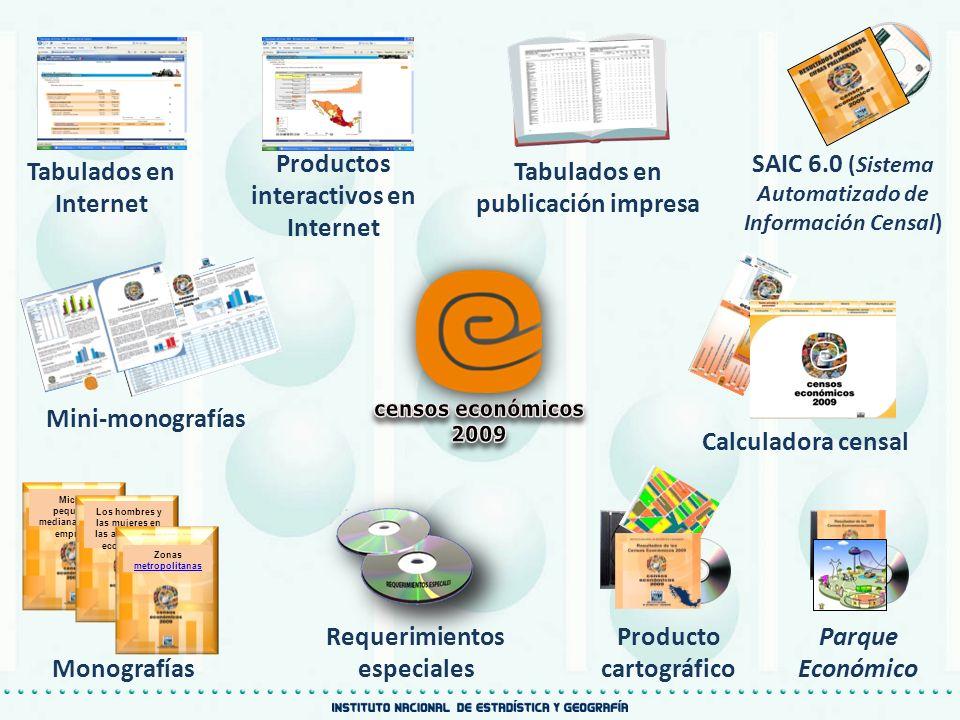 censos económicos 2009 Productos interactivos en Internet