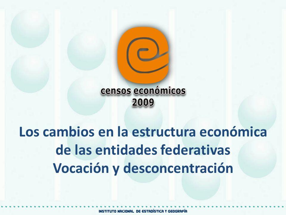 censos económicos 2009. Los cambios en la estructura económica de las entidades federativas.