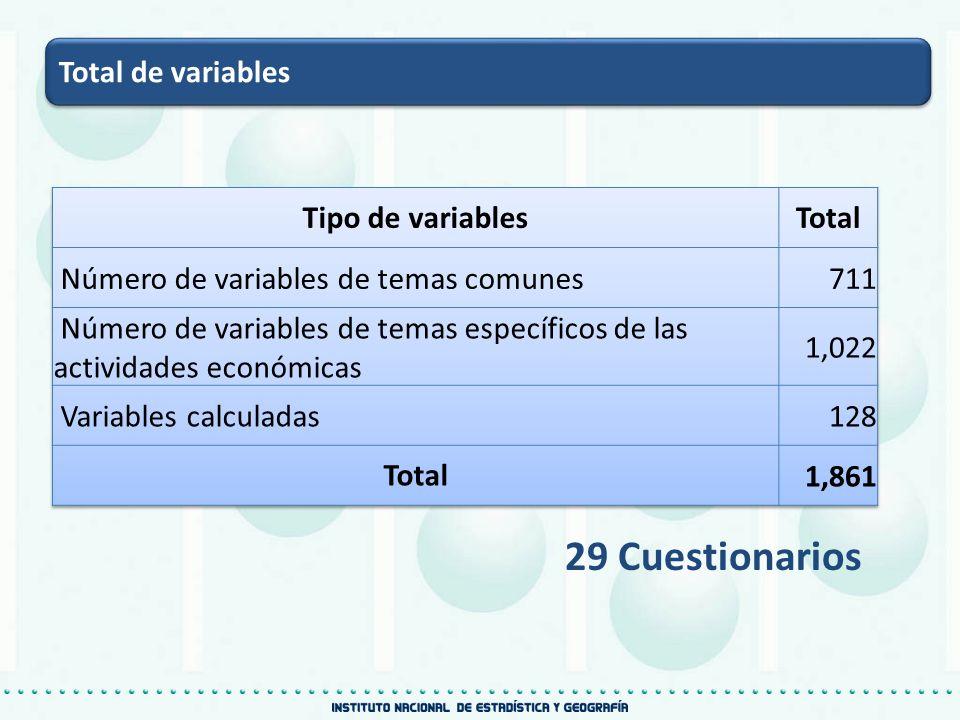29 Cuestionarios Total de variables Tipo de variables Total