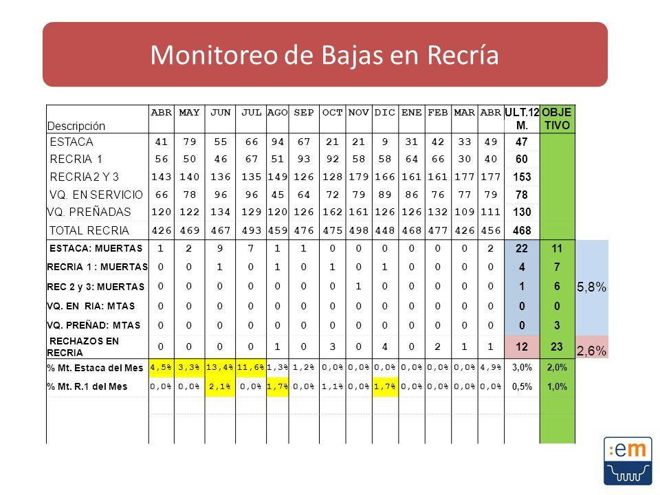 Monitoreo de Bajas en Recría
