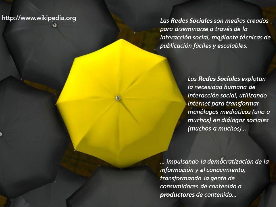 Las Redes Sociales son medios creados para diseminarse a través de la interacción social, mediante técnicas de publicación fáciles y escalables.