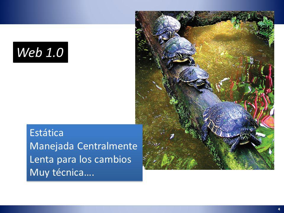 Web 1.0 Estática Manejada Centralmente Lenta para los cambios
