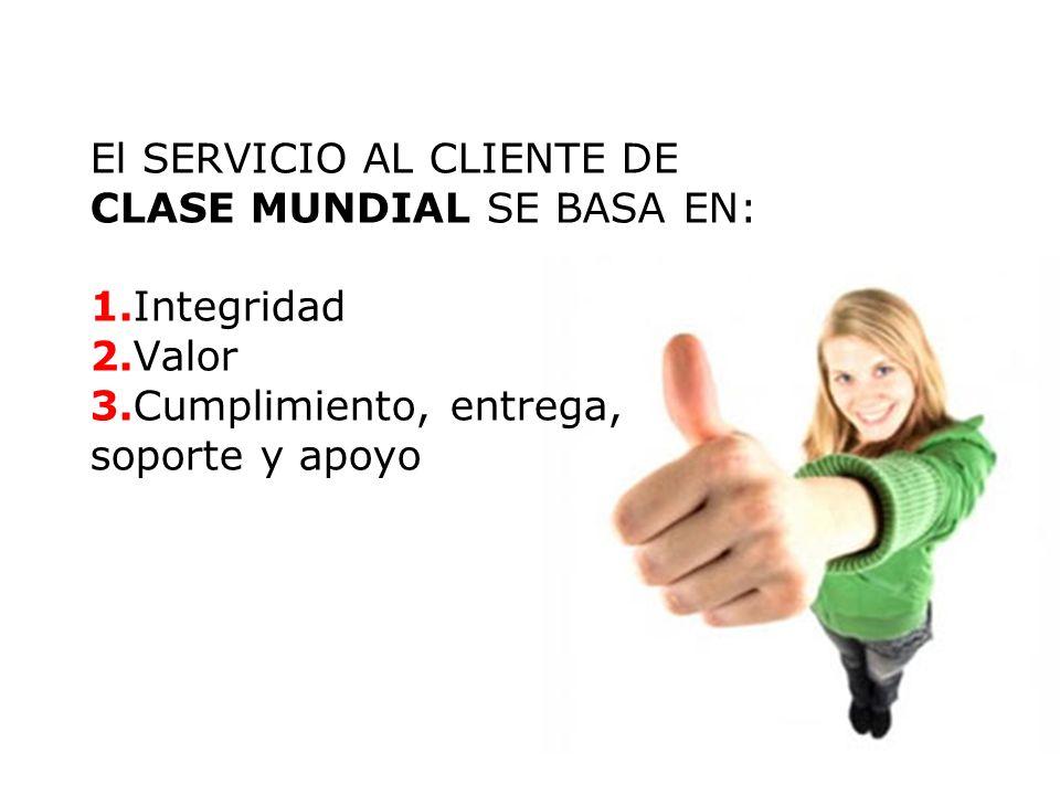 El SERVICIO AL CLIENTE DE CLASE MUNDIAL SE BASA EN: 1. Integridad 2