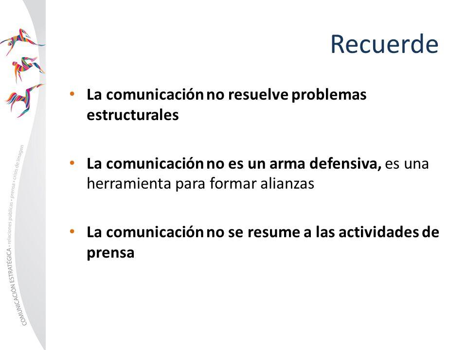 Recuerde La comunicación no resuelve problemas estructurales