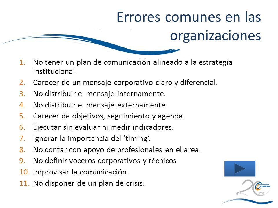 Errores comunes en las organizaciones