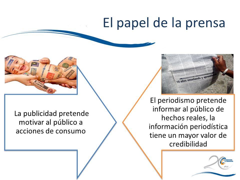 La publicidad pretende motivar al público a acciones de consumo