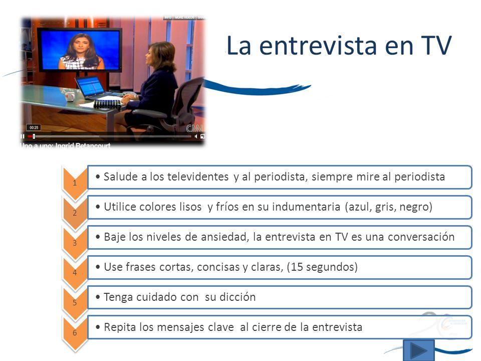 La entrevista en TV 1. Salude a los televidentes y al periodista, siempre mire al periodista. 2.