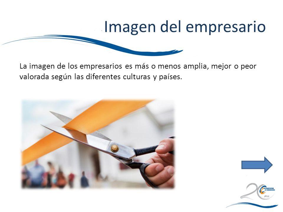 Imagen del empresario La imagen de los empresarios es más o menos amplia, mejor o peor valorada según las diferentes culturas y países.