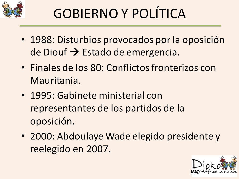 GOBIERNO Y POLÍTICA 1988: Disturbios provocados por la oposición de Diouf  Estado de emergencia.