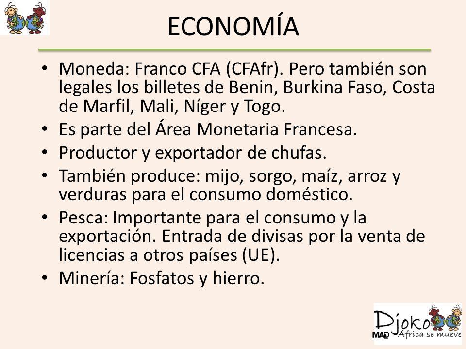 ECONOMÍA Moneda: Franco CFA (CFAfr). Pero también son legales los billetes de Benin, Burkina Faso, Costa de Marfil, Mali, Níger y Togo.