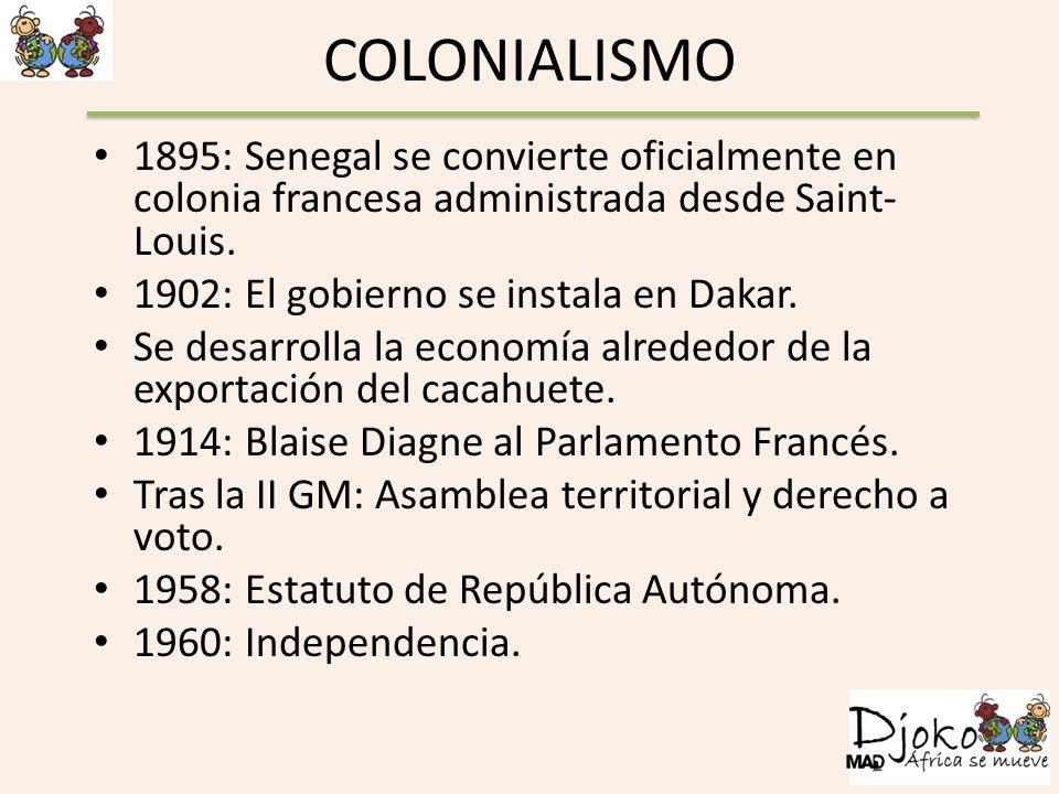 COLONIALISMO 1895: Senegal se convierte oficialmente en colonia francesa administrada desde Saint-Louis.