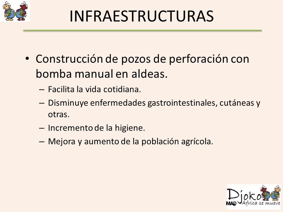 INFRAESTRUCTURAS Construcción de pozos de perforación con bomba manual en aldeas. Facilita la vida cotidiana.