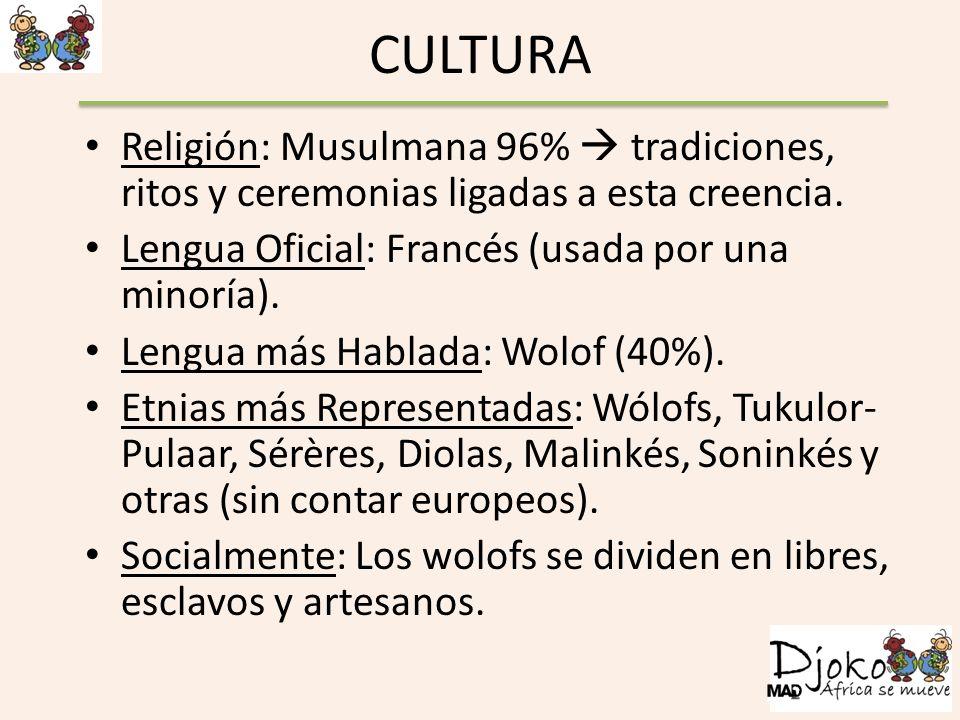 CULTURA Religión: Musulmana 96%  tradiciones, ritos y ceremonias ligadas a esta creencia. Lengua Oficial: Francés (usada por una minoría).