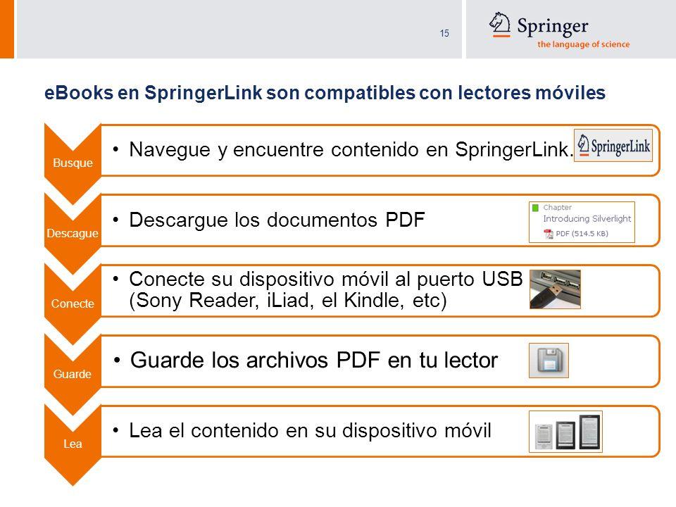 eBooks en SpringerLink son compatibles con lectores móviles