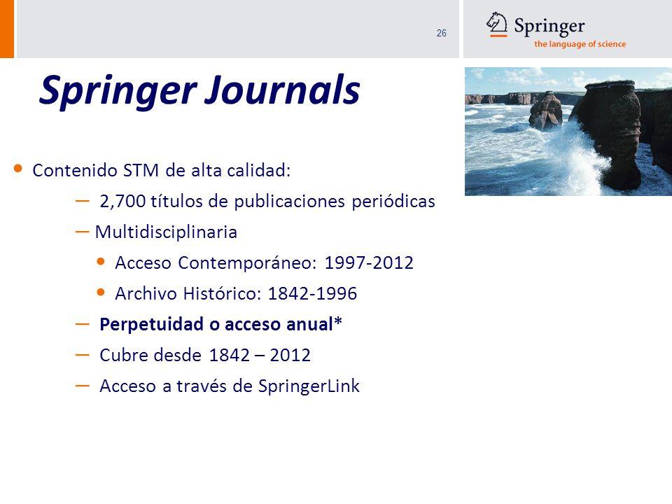 Springer Journals Contenido STM de alta calidad: