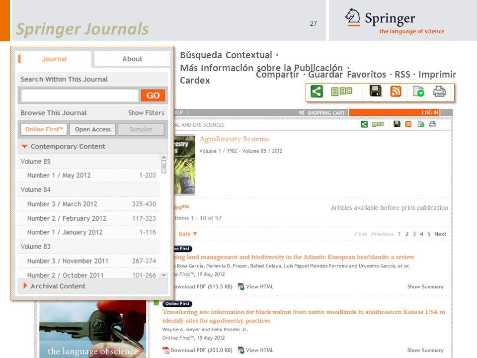 Springer Journals Búsqueda Contextual · Más Información sobre la Publicación · Cardex.