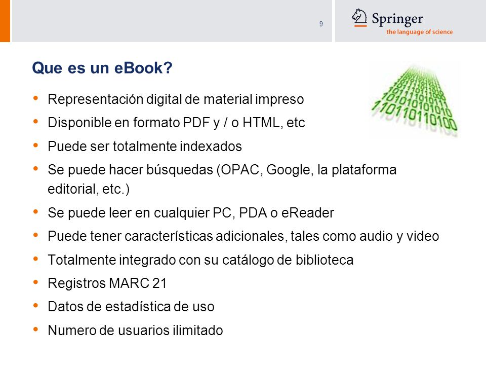 Que es un eBook Representación digital de material impreso