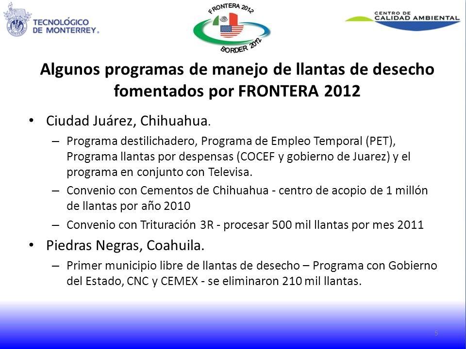 Algunos programas de manejo de llantas de desecho fomentados por FRONTERA 2012