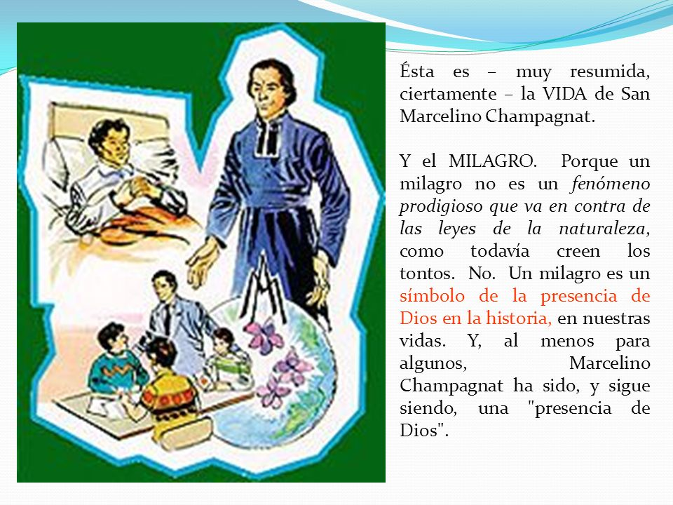 Ésta es – muy resumida, ciertamente – la VIDA de San Marcelino Champagnat.