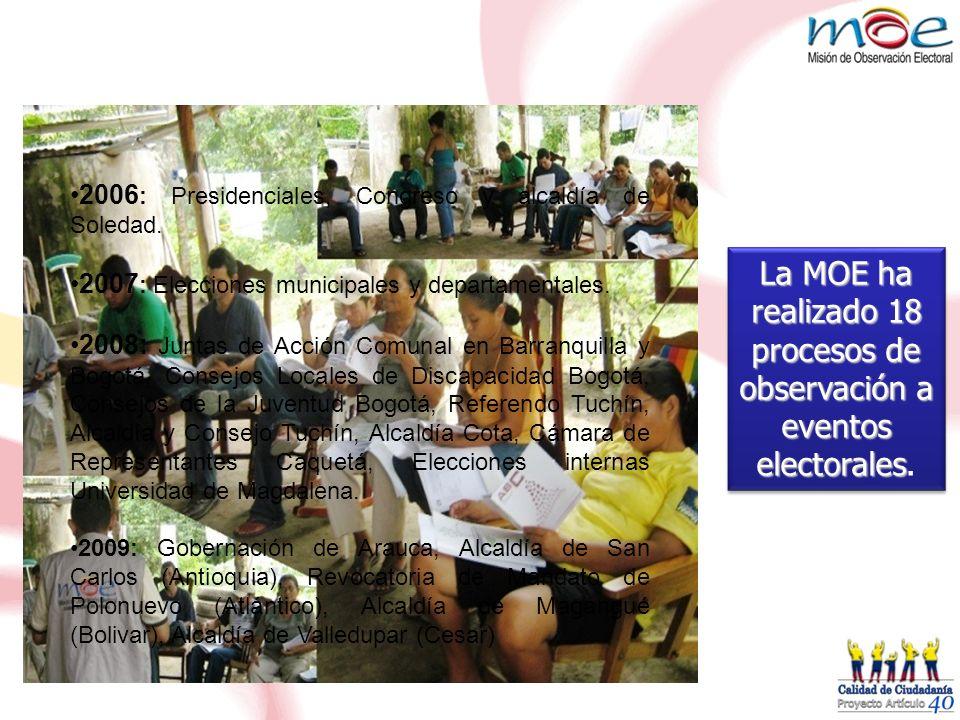 La MOE ha realizado 18 procesos de observación a eventos electorales.