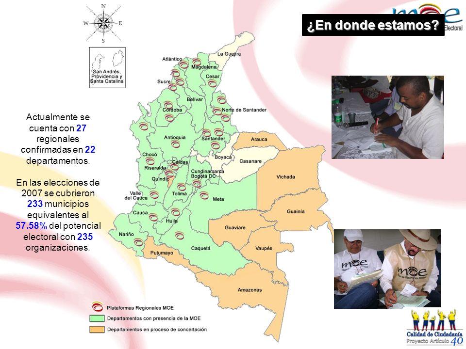 ¿En donde estamos Actualmente se cuenta con 27 regionales confirmadas en 22 departamentos.