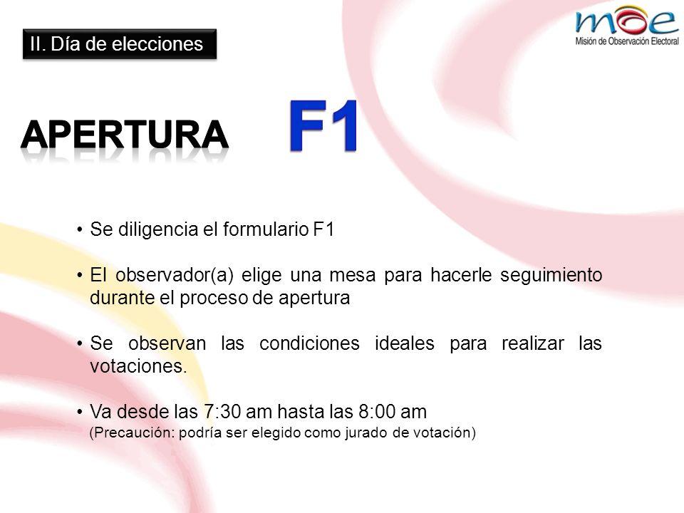 F1 Apertura II. Día de elecciones Se diligencia el formulario F1