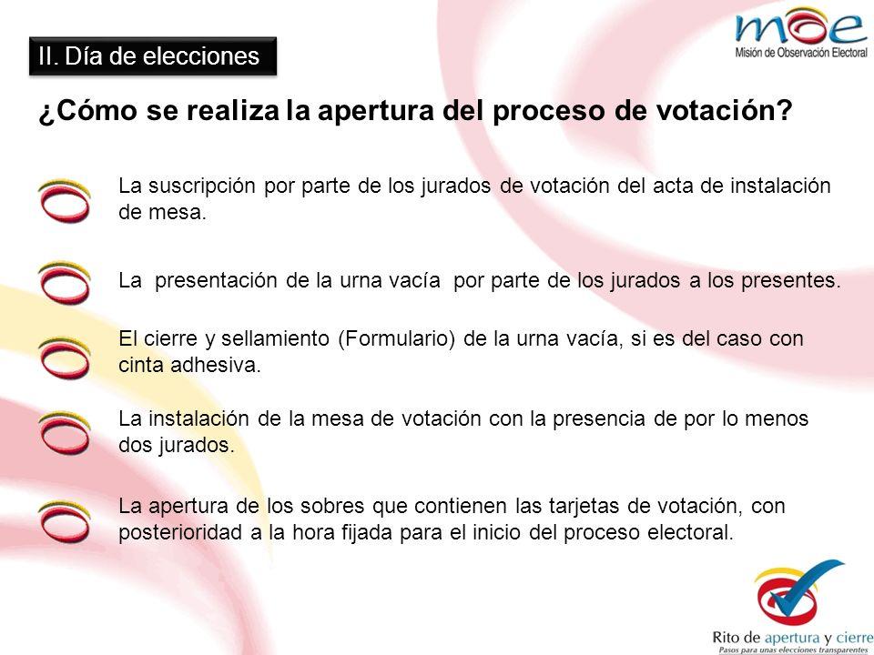 ¿Cómo se realiza la apertura del proceso de votación