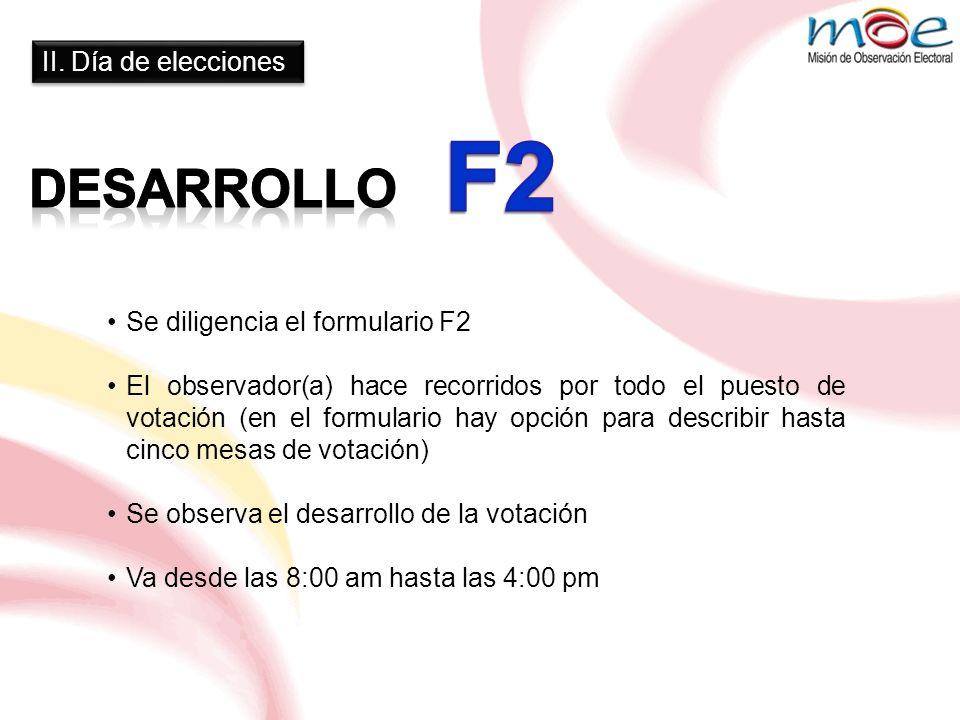 F2 DESARROLLO II. Día de elecciones Se diligencia el formulario F2