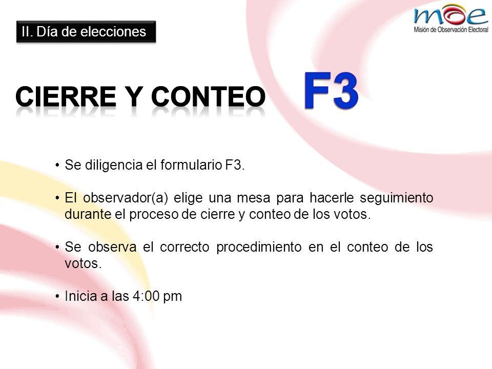 F3 CIERRE Y CONTEO II. Día de elecciones