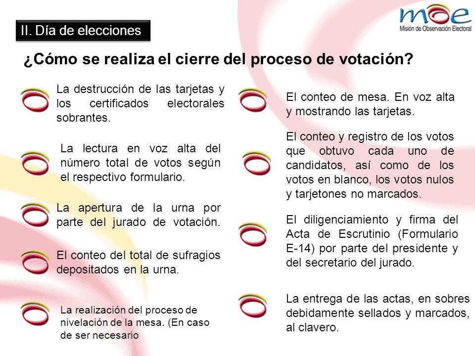 ¿Cómo se realiza el cierre del proceso de votación