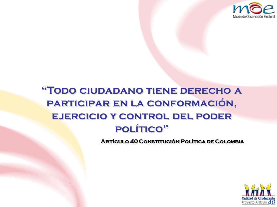 Todo ciudadano tiene derecho a participar en la conformación, ejercicio y control del poder político